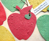 Recycled Ideas Favors plantable paper red apple with tied-on mini heart and tag