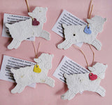 Recycled Ideas Favors plantable seed paper lambs with hearts and cards
