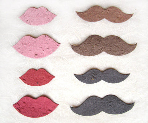Recycled Ideas Favors plantable seed paper pink and red lips and brown and black mustaches