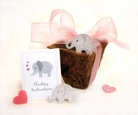 Recycled Ideas Favors plantable seed paper gray elephant with heart, card and biodegradable pot