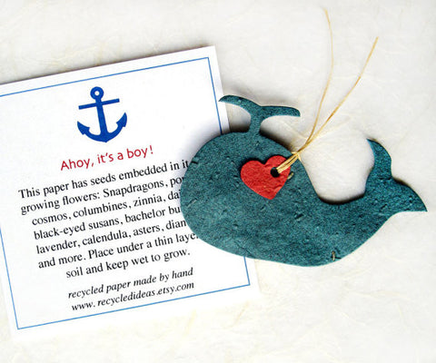 Recycled Ideas Favors plantable seed paper whale with heart and card