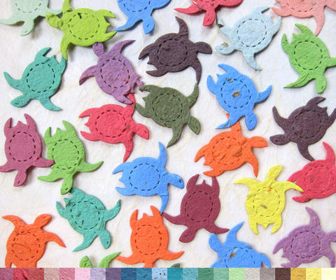 Recycled Ideas Favors plantable seed paper confetti rainbow color turtles