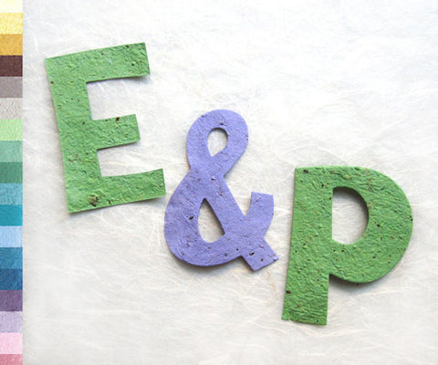 Recycled Ideas Favors plantable paper green E and P with lilac ampersand