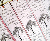 Plantable Seed Paper Memorial Bookmarks - Custom Wording and Seed Paper Colors