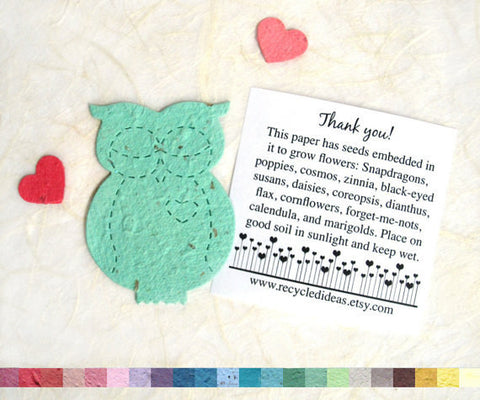 Recycled Ideas Favors plantable paper aqua owl with card and mini hearts