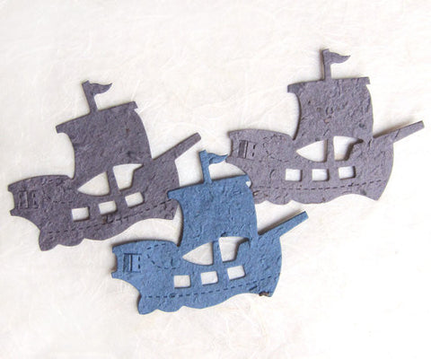Recycled Ideas Favors plantable paper pirate ships