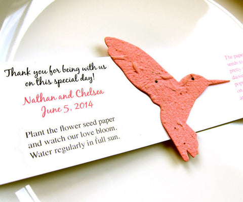 Recycled Ideas Favors plantable paper hummingbird with card