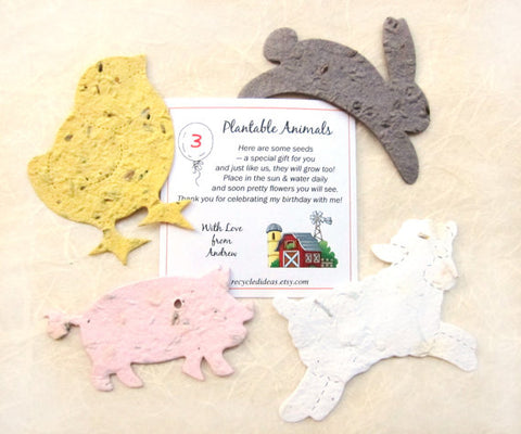 10+ Farm Birthday Party Favors - Plantable Flower Seed Paper Farm Animals Cows Rabbits Pigs Chicks