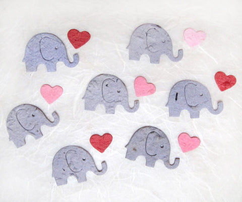 Recycled Ideas Favors plantable seed paper confetti gray elephants with pink mini hearts