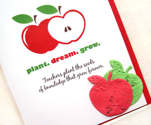 plantable paper teacher thank you card with apples