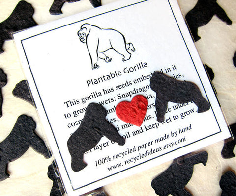 Recycled Ideas Favors plantable seed paper confetti black gorillas with card