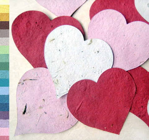 Recycled Ideas Favors plantable paper red, pink and white hearts