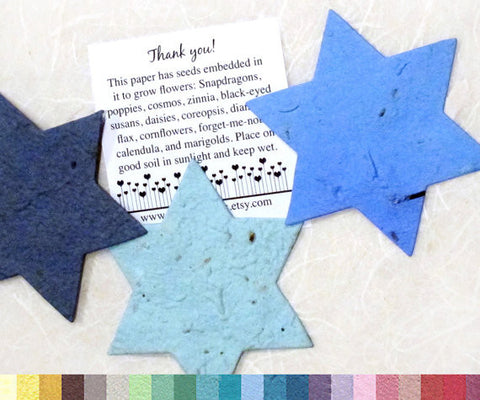 Recycled Ideas Favors plantable paper blue stars of David with card