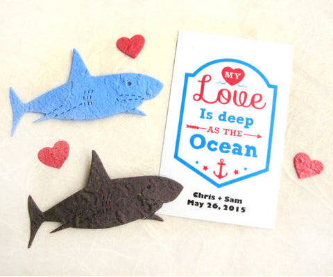 seed paper sharks valentines plantable ocean life party   20 seed paper sharks valentines plantable ocean life party favors wedding and birthday option
