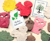 100 Seed Paper Woodland Animals - Wedding Favors - Flower Seed Paper - Hedgehogs Owls Quails Squirrels