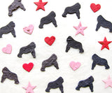 Recycled Ideas Favors plantable seed paper confetti black and gray gorillas with mini hearts