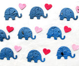 Recycled Ideas Favors plantable seed paper confetti blue elephants with pink mini hearts