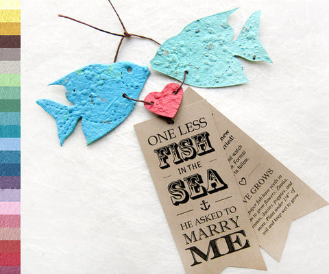 Recycled Ideas Favors plantable paper aqua fish with cards