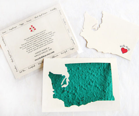 Recycled Ideas Favors Washington state greeting card with plantable paper insert