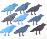 Recycled Ideas Favors plantable paper crows in blues and grays