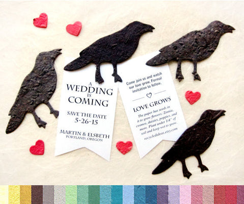 Recycled Ideas Favors plantable paper crows with hearts and cards