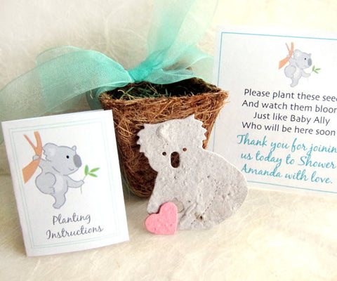 Recycled Ideas Favors plantable paper koala with cards, ribbon and plantable pot