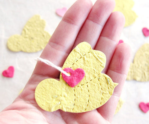Recycled Ideas Favors plantable paper bees and hearts