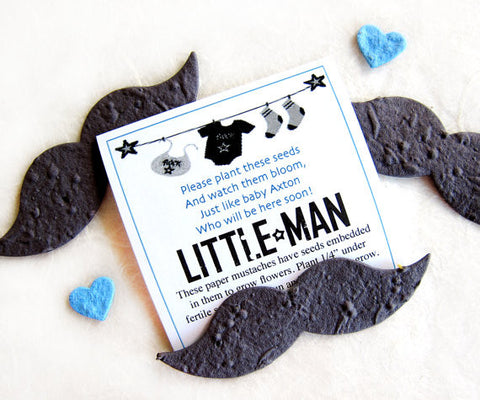 Recycled Ideas Favors plantable paper mustaches with cards