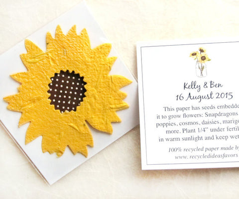 10+ Plantable Seed Paper Sunflowers Wedding Favors - Custom Cards ...