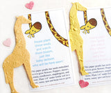 Recycled Ideas Favors plantable paper giraffes with mini hearts and cards