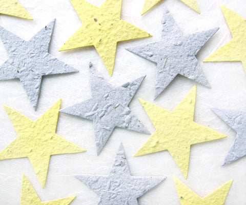 Recycled Ideas Favors plantable paper yellow and gray stars