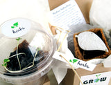 Recycled Ideas Favors plantable paper herb favor with plantable pot, box and biodome