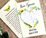 Sunflower Wedding Favor Cards - with flower seed paper hearts