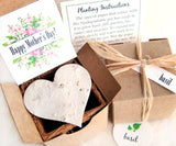 Recycled Ideas Favors plantable paper hearts and cards with gift box