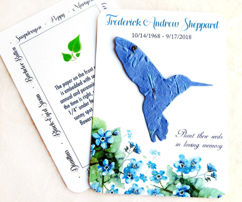 50 Plantable Hummingbird Memorial Cards - Flower Seed Paper Hummingbirds - Choose Self-Print PDF template or Printed Cards