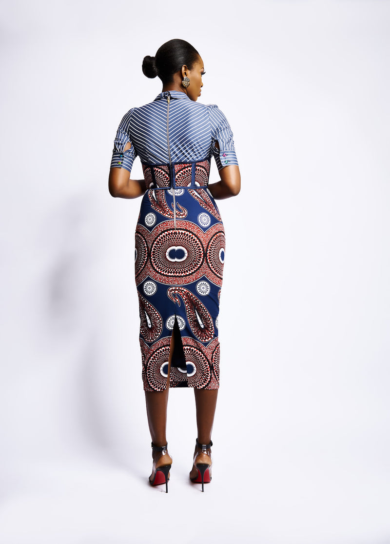 NAKI FITTED PENCIL DRESS - WAX PRINT