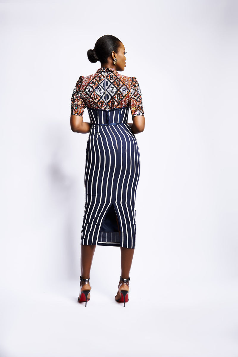 NAKI FITTED PENCIL DRESS - STRIPE
