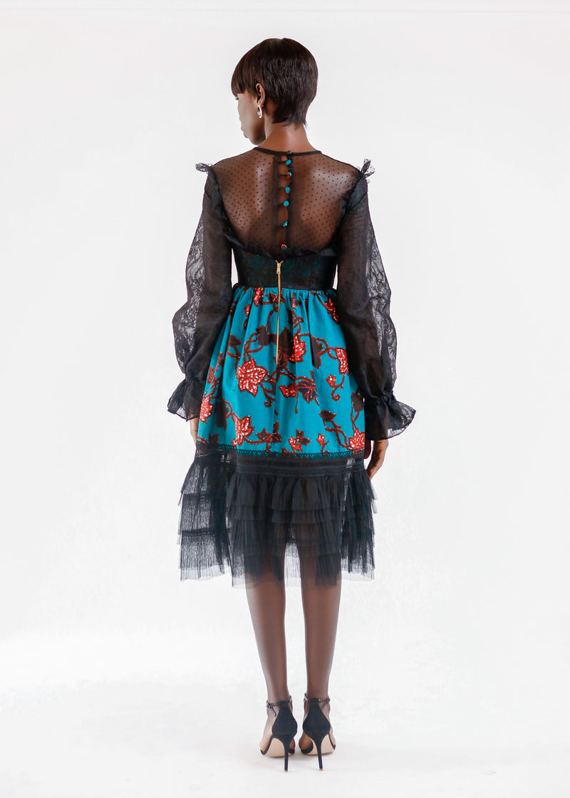 WAX PRINT DRESS WITH TULLE DETAIL
