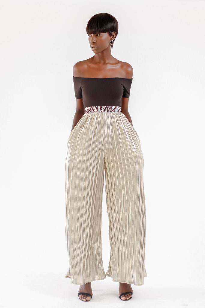 METALLIC WIDE LEG PANT