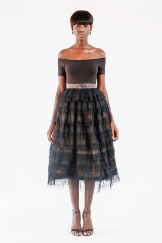 WAX PRINT AND TULLE FULL SKIRT