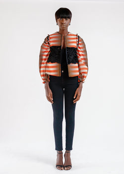 BOXY PRINT JACKET WITH EMBROIDERY DETAIL (ships June 1)