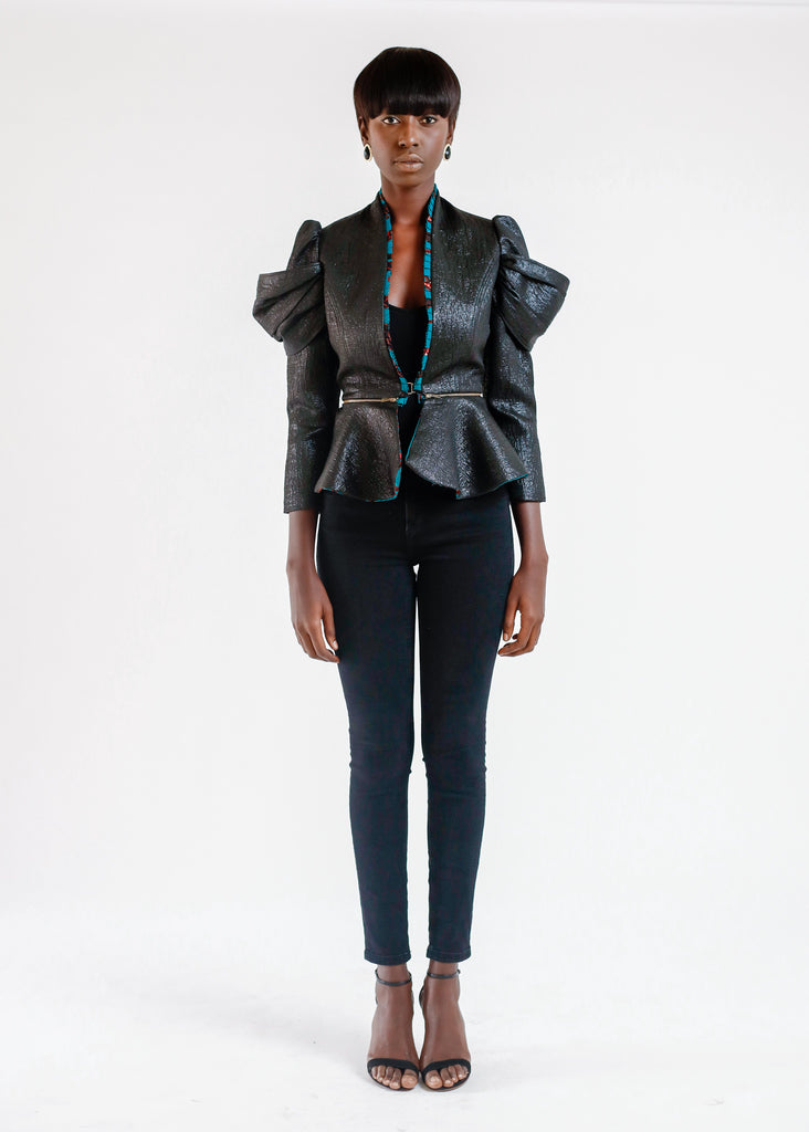 BLACK JACQUARD PEPLUM JACKET WITH ZIP DETAIL
