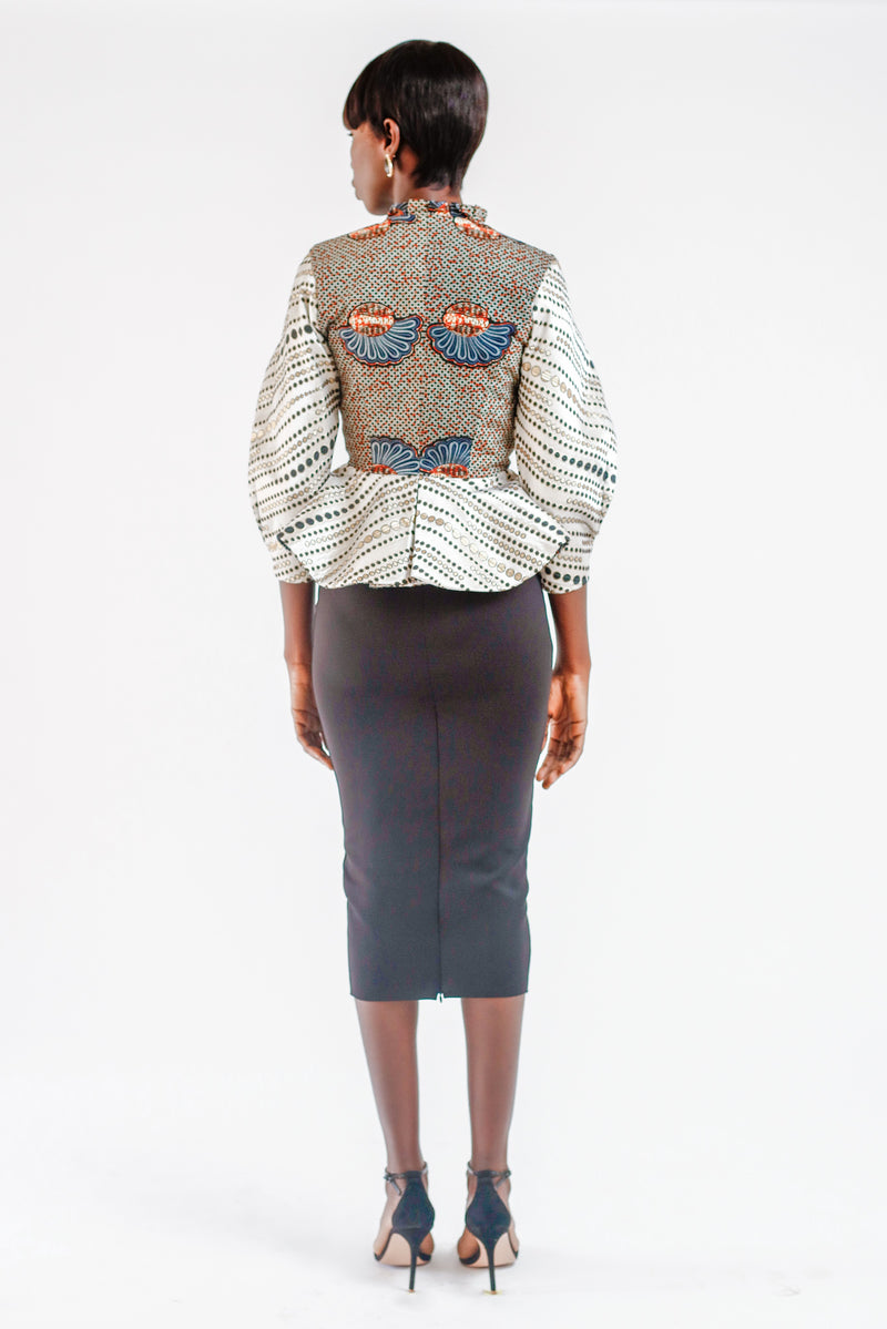 JACQUARD PEPLUM JACKET WITH CAPE FEATURE