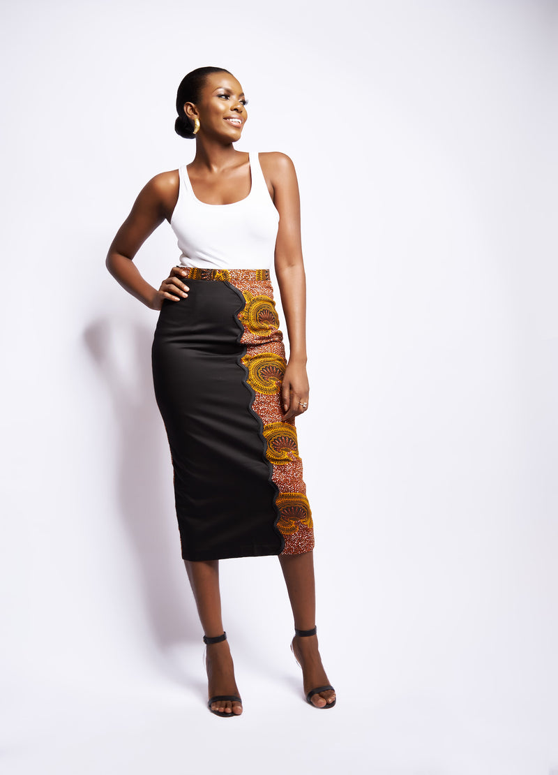 ISOKE PRINT PENCIL SKIRT
