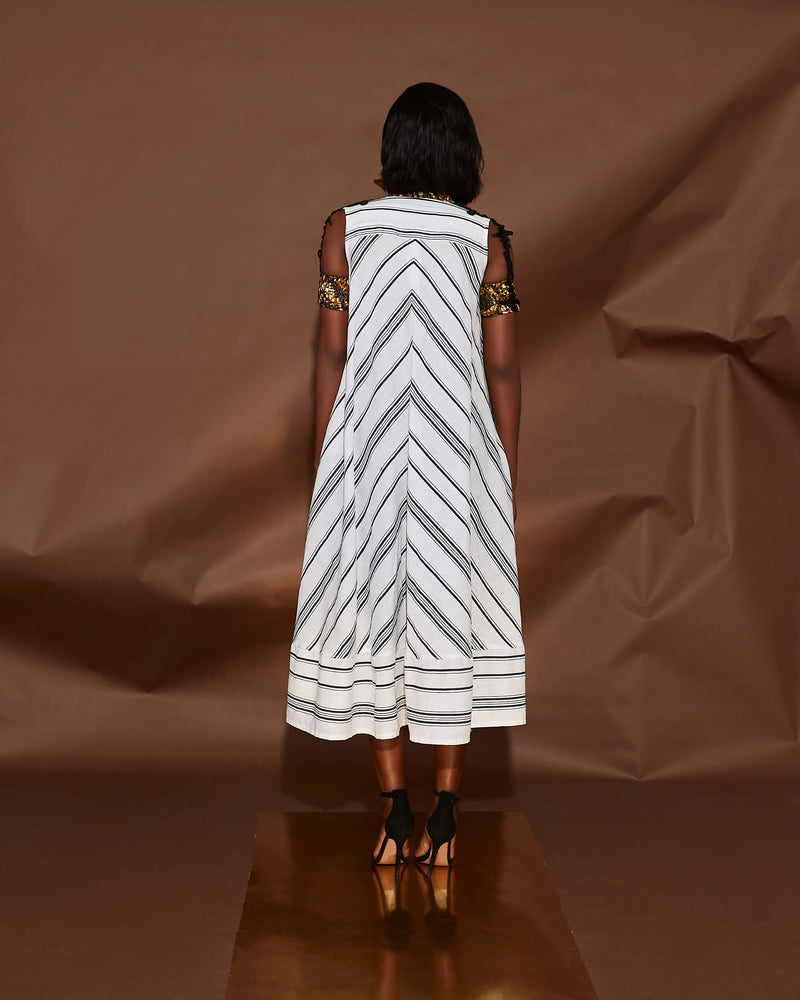 STRIPED CAPE DRESS WITH EMBROIDERY DETAILS[PREORDER]