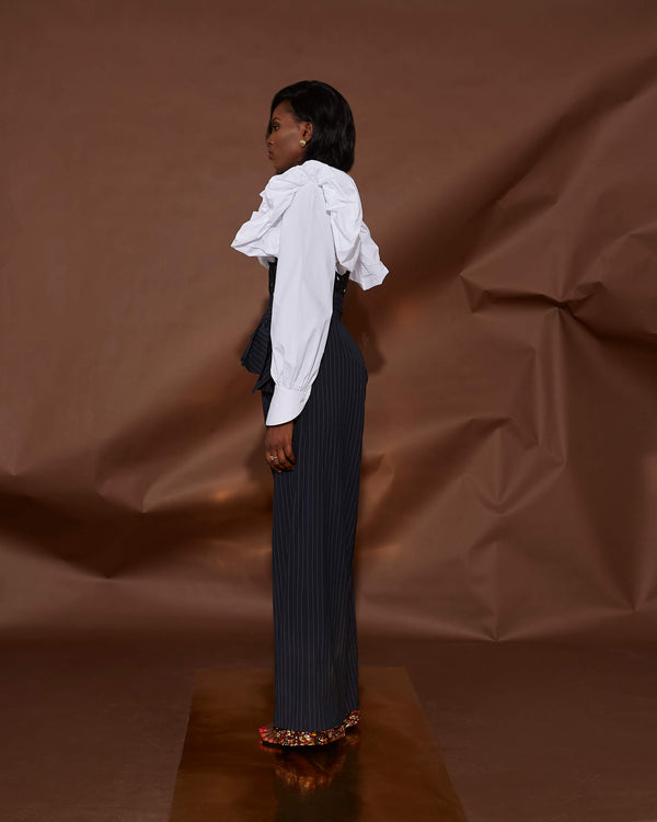 WIDE LEG PINSTRIPE TROUSERS[PREORDER]