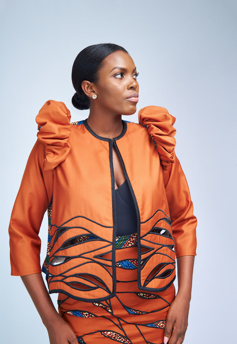 EMBROIDERED BOXY JACKET - BURNT ORANGE