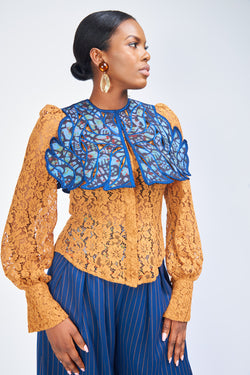 THE CAPE BLOUSE  - CURRY LACE
