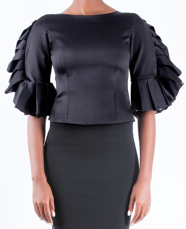 FITTED BLOUSE WITH STATEMENT SLEEVE DETAIL