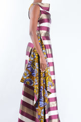 MAXI SILK DRESS WITH PRINT INSERT